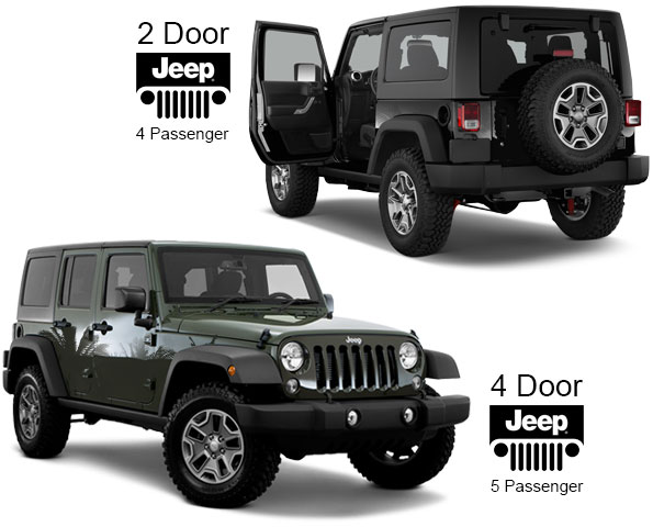 2 door and 4 door Jeeps for rent
